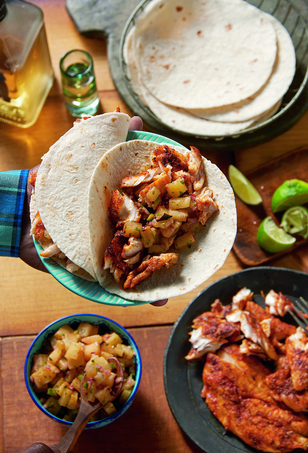 Weber's American Barbecue Blackened Barramundi Tacos with Barbecued Pineapple Salsa