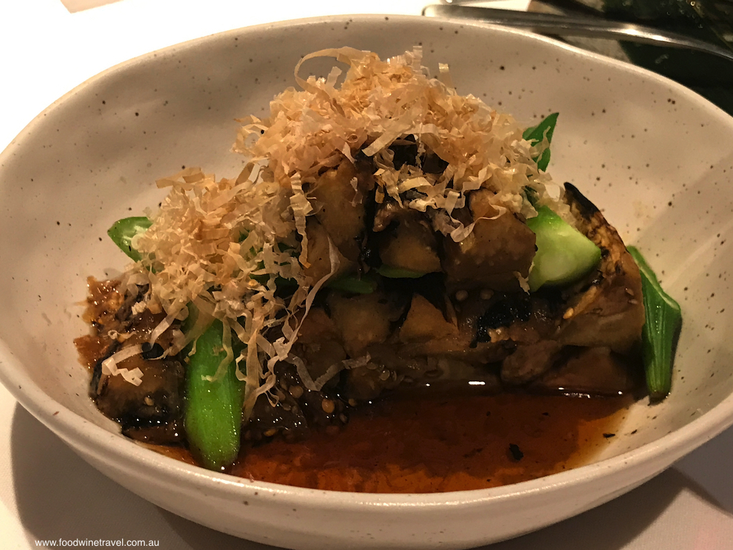 Chilled Chargrilled Nasu (Eggplant) with light dashi broth.