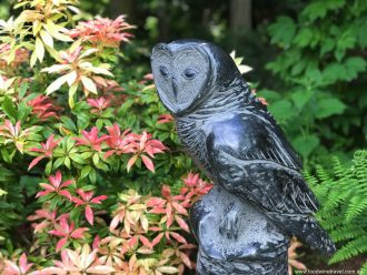 'Perched Owl' by Josh Henrie, on display at Matzke Sculpture Park, Camano Island.