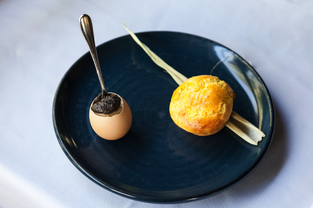 Truffle, Onion & Parmesan Custard, served in an egg shell with toasted corn brioche on the side.
