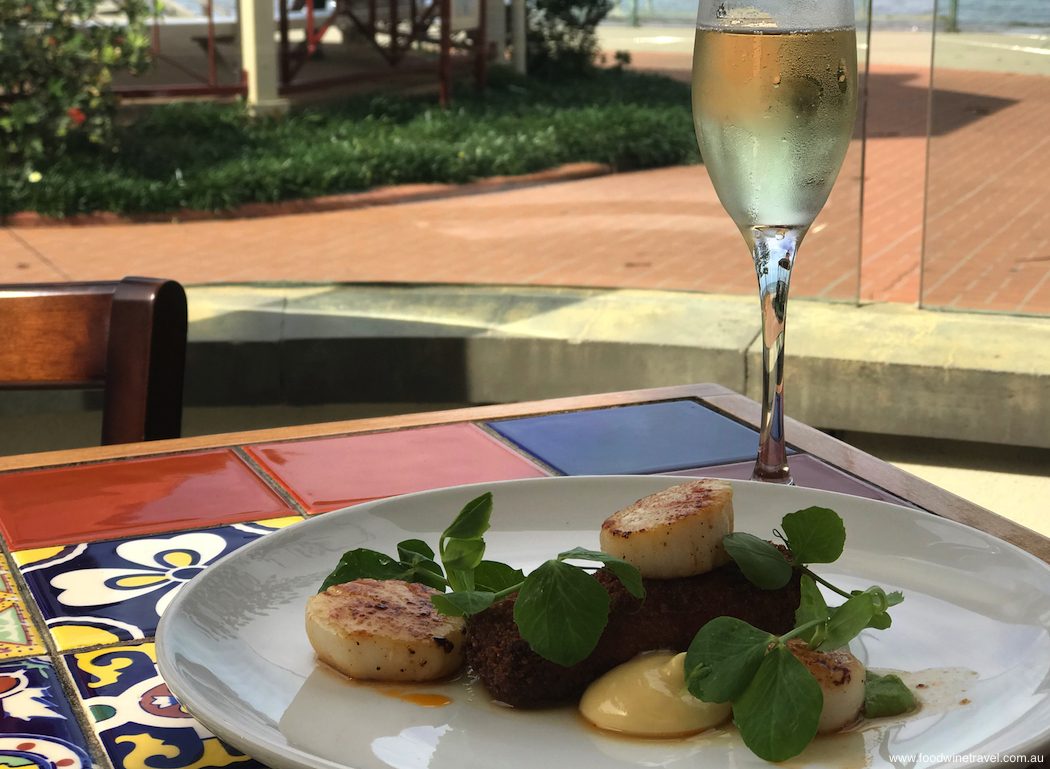Suttons Beach Pavilion Hervey Bay scallops with croquette of ham hock peas and aioli