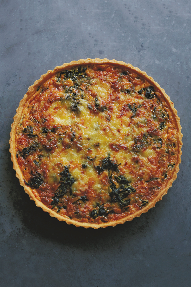 Cheddar onion and spinach tart, from How To Eat A Peach