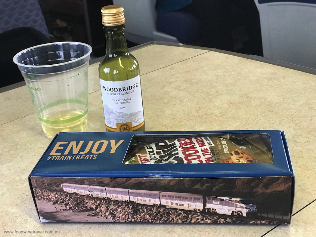 Amtrak's Pacific Surfliner snack pack for business class passengers.