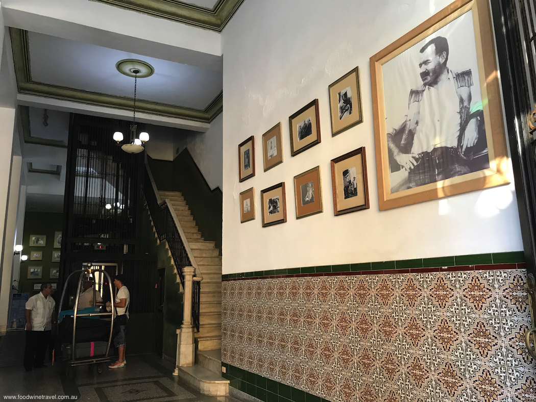 Ernest Hemingway pictures on wall of Hotel Ambos Mundos