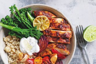 Heat of the Night Chicken Bowl recipe from Super Green, Simple and Lean, by Sally Obermeder and Maha Koraiem
