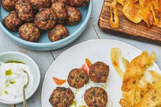 Grandmama's Meatballs With Handmade Crisps, from Mazi: Modern Greek Food.
