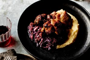 Braised Pork Shoulder with Apple Cider & Red Cabbage, from Winter, by Louise Franc.