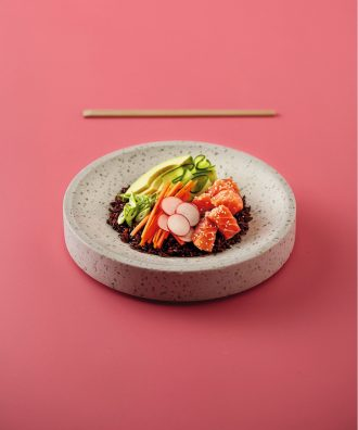 Easy Salmon Black Rice Poke Bowl recipe, from Food Hacker.