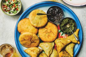 Recipe for samosas from The Indian Vegetarian Cookbook by Pushpesh Pant.
