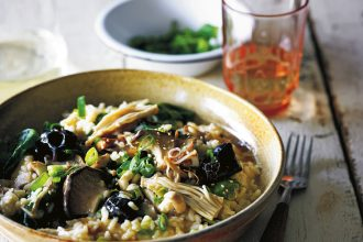 Butter Miso Mushroom Risotto recipe, from Slow Cooker Vegetarian, by Katy Holder.
