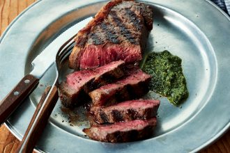 Porterhouse Steaks with Basil-Rocket Pesto, from Weber's Greatest Hits, by Jamie