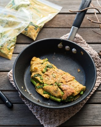 Asparagus Omelette in a Bag, from Vegan Yack Attack On The Go, by Jackie Sobon.