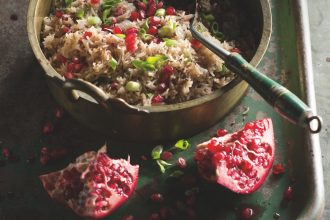 Pomegranate rice, from Lands of the Curry Leaf, by Peter Kuruvita.
