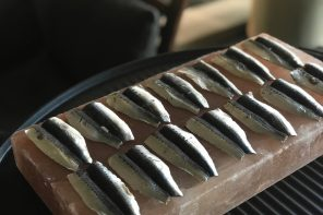 Cooking sardines on the salt block from The Salt Box