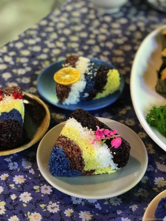 Even the steamed rice is colourful at Meena restaurant, Chiang Mai.