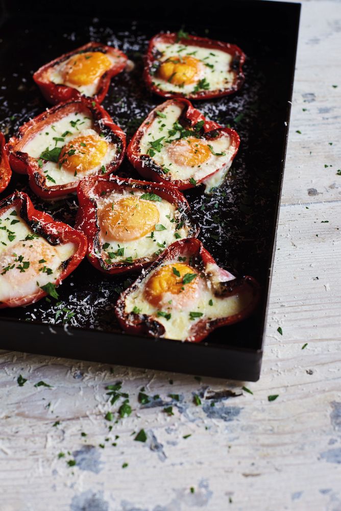 Barbecued capsicum with egg and pecorino, from The Food of Argentina, by Ross Dobson and Rachel Tolosa Paz.