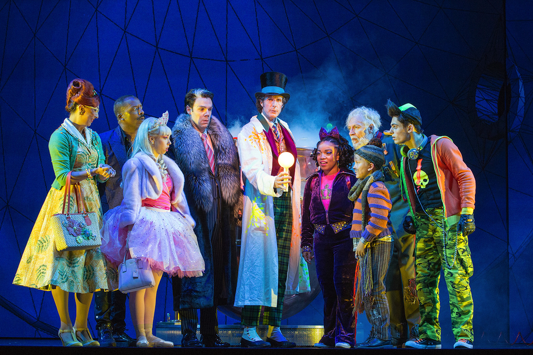 Charlie and the Chocolate Factory on at Capitol Theatre Paul Slade Smith (Willy Wonka), Xion Jarvis (Charlie), Tony Sheldon (Grandpa Joe) and cast (c) Jeff Busby