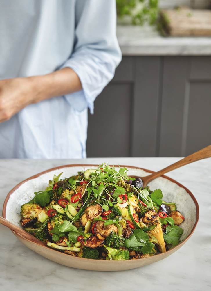 Aubergine and Broccoli Salad, from Deliciously Ella Plant-Based Cookbook. Photo c Nassima Rothacker.