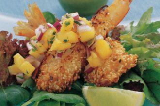 Australian Heritage Cookbook Sesame Coconut King Prawns with Mango Salsa
