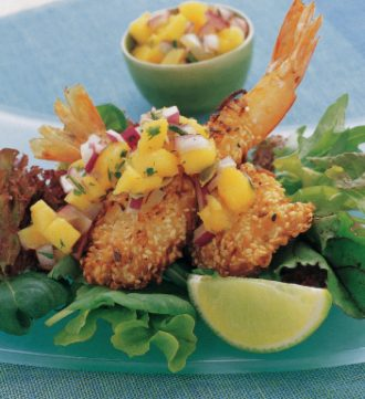 Australian Heritage Cookbook Sesame Coconut King Prawns with Mango Salsa