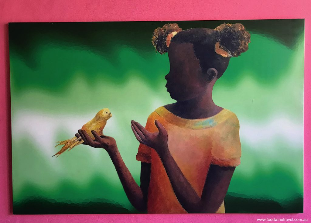 Port Limon Painting of girl with bird