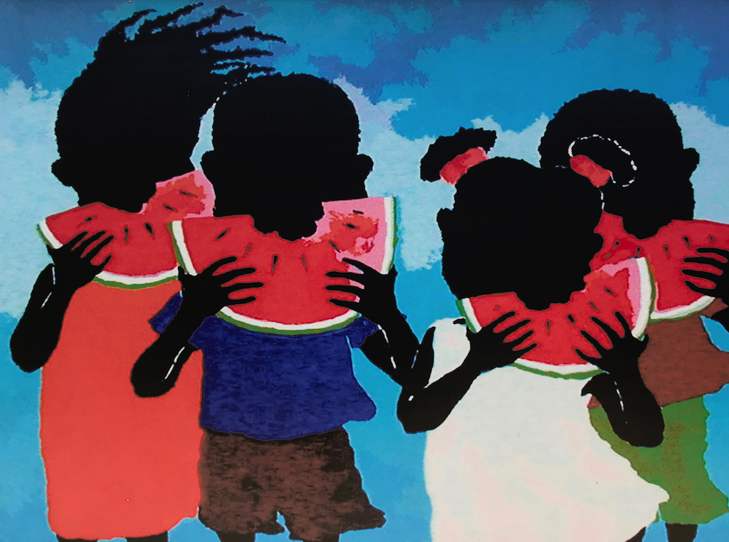 Port Limon Painting of kids eating watermelon