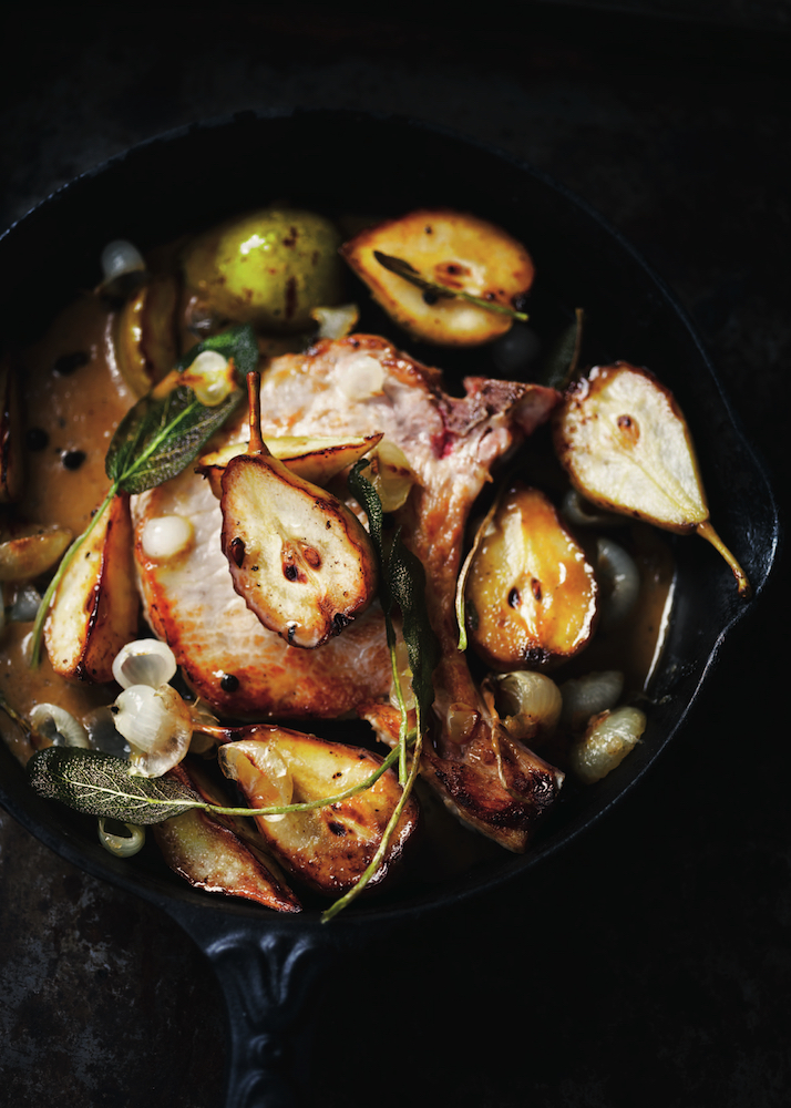 Pork Cutlets with Caramelised Pears and Sage, from Fruit cookbook