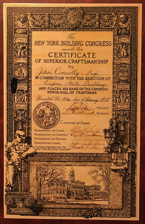 Empire State Building Certificate