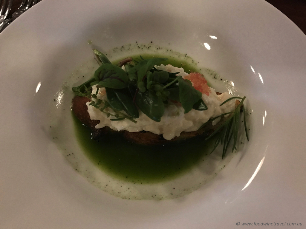 Fraser Island spanner crab on toast with salsa verde and sea flora