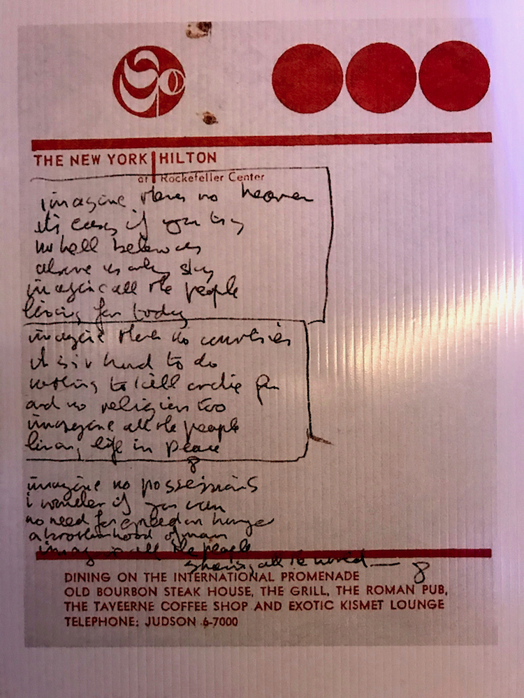 John Lennon penned the lyrics of Imagine on the stationery of the New York Hilton.