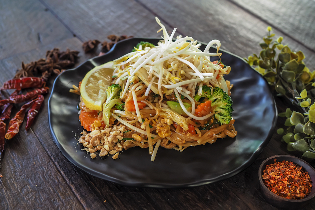 Vegan Pad Thai, an adaptation of the classic Thai dish.
