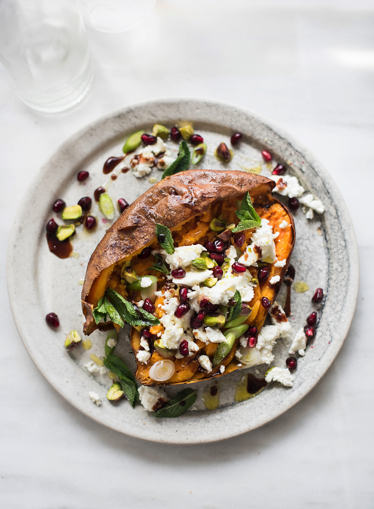 Slow-roasted sweet potato with feta, pomegranate and pistachios, from The Flexible Pescatarian.