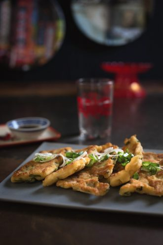 Recipe for Chinese Spring Onion Pancakes, from Dining At Dusk, by Stevan Paul.