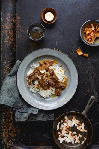 Recipe for Beef Rendang, from Fire Islands, an Indonesian cookbook by Eleanor Ford