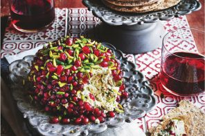 Pom-Bombe is Sabrina Ghayour's delicious alternative to a cheese board. Made from goat's cheese and pomegranate, the recipe is from her book, Bazaar.