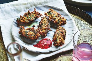 Recipe for Turmeric, Spinach & Sweet Potato Fritters, from Bazaar, by Sabrina Ghayour.