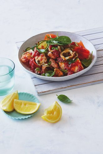 Chargrilled Marinara On Vegetable Pappardelle, from CSIRO Protein Plus Nutrition and Exercise Plan.