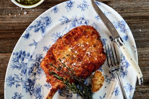Parmesan & Lemon Thyme Crusted Pork Cutlet, from Bondi Trattoria.
