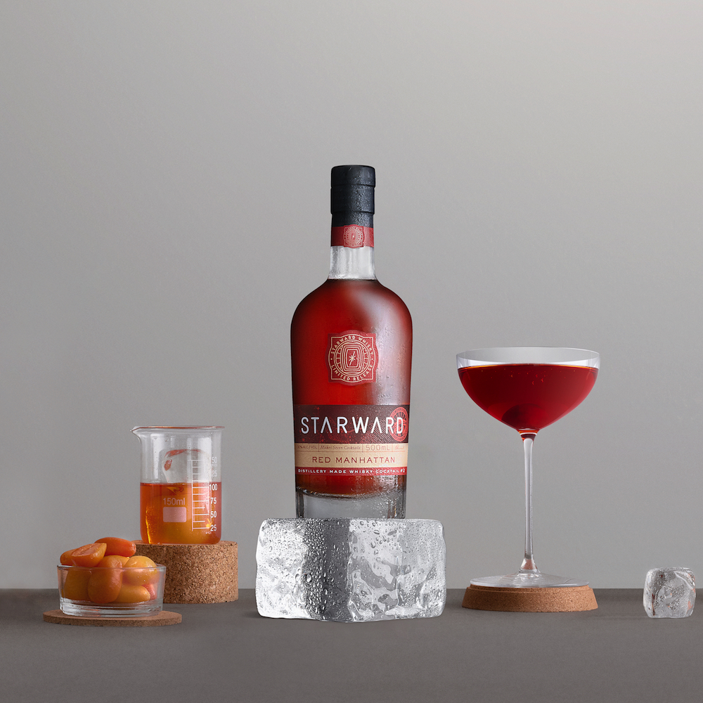 Starward recommends that the Red Manhattan be kept in the fridge and served in a coupe glass.