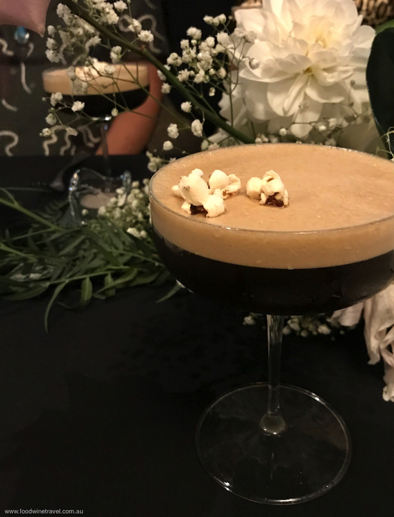 Salted Caramel Espresso Martini topped with popcorn in a nod to the building's cinema heritage.