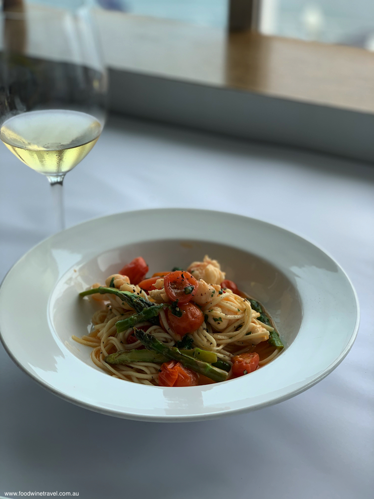 Lobster takes the main stage on Fellini's Spaghetti with Lobster Tail.