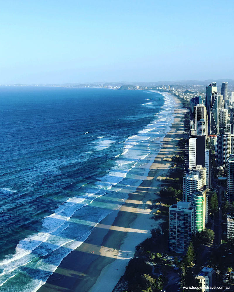 The view from our balcony on the 59th floor. On a clear day, you can see as far south as Coolangatta.