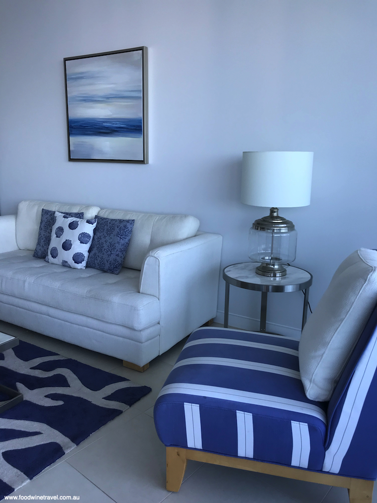 The living room in our spacious 2-bedroom apartment.