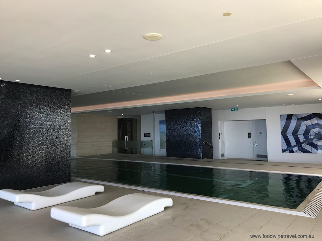 Indoor pool and lounge mats.