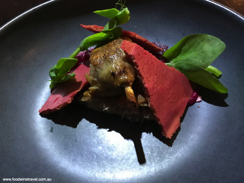 Lennons confit duck leg with beetroot meringue