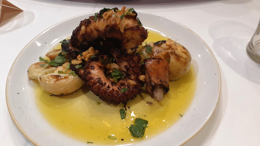 Grilled octopus Taste of Macao chef Palmira Pena cooking in Sydney
