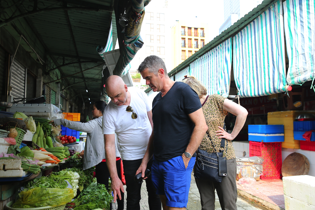 Mark Best and Shane Osborn on a Dream Cruise shore excursion of Ho Chi Minh City.