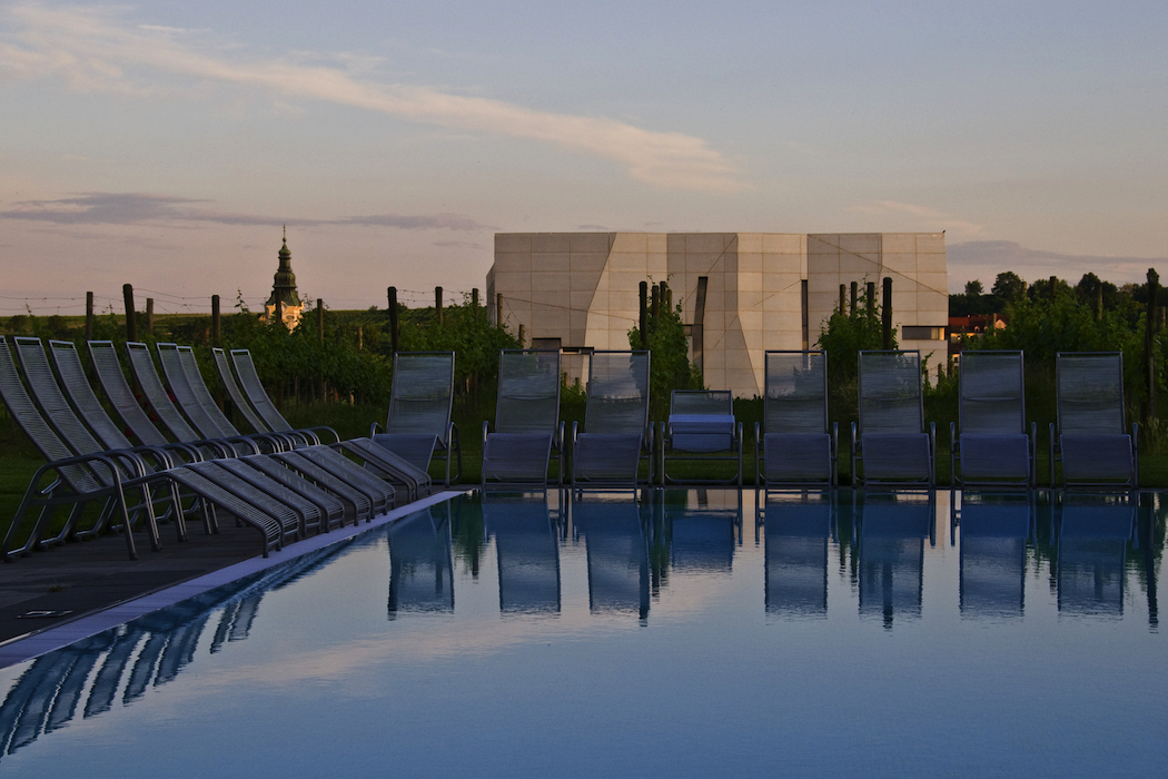 The cube-shaped Loisium and hotel pool, in Lower Austria © Austrian National Tourist Office / Photographer Udo Bernhart.