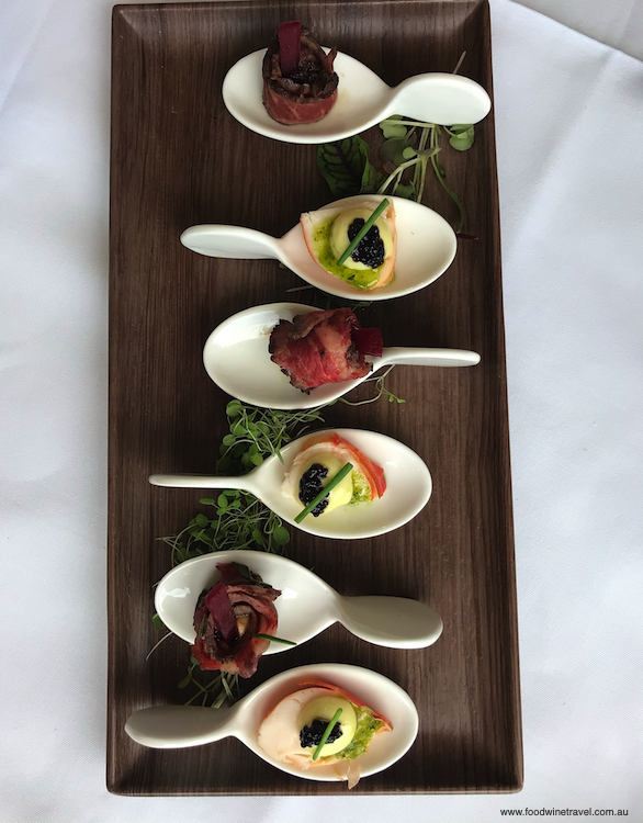 Wagyu beef and lobster roulade canapés at the Paddock & Claw lunch.