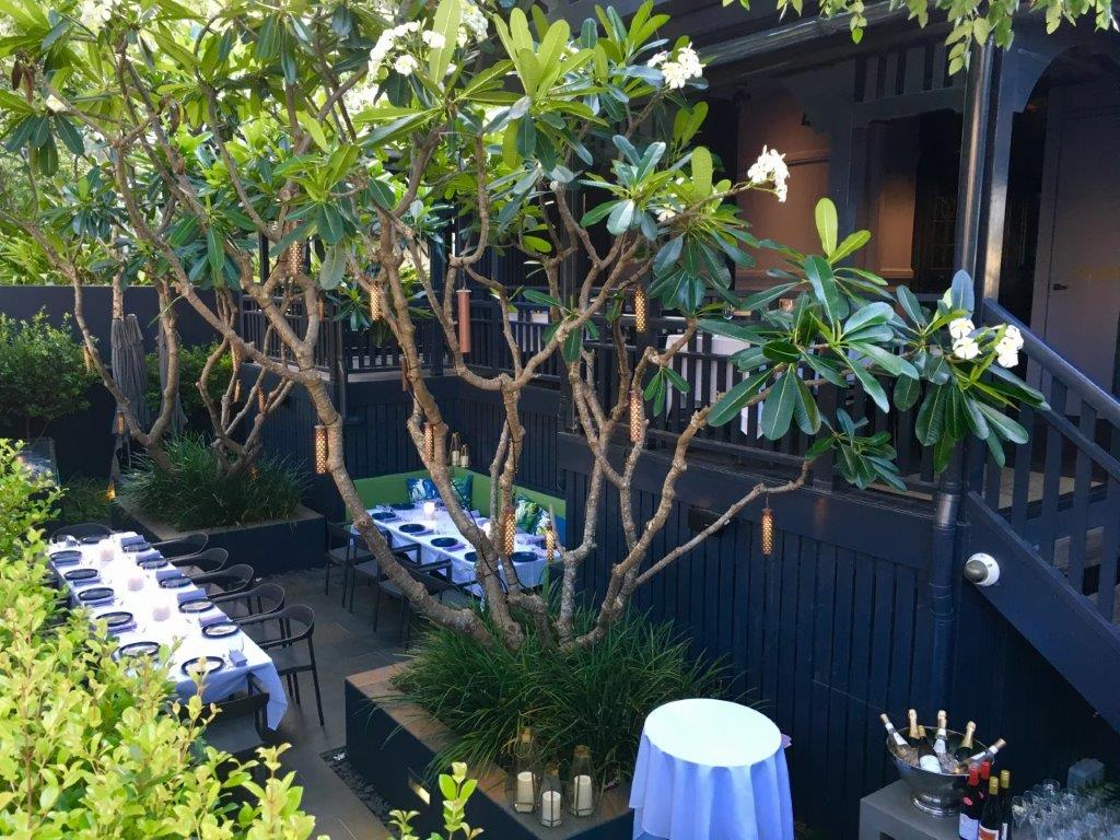 Dining under the frangipani trees in the courtyard is one of the options at Spicers Balfour.